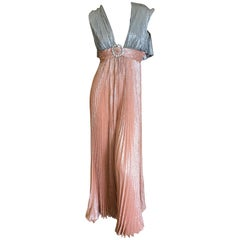 Cardinali Metallic Copper and Silver Lurex Pleated Jumpsuit with Capelet Back