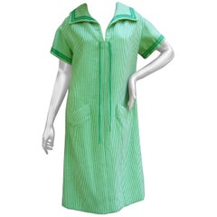 Valentino Boutique Italian Vertical Green Striped Wool Knit Dress circa 1970s