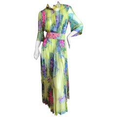 Cardinali Pleated Silk Chiffon Floral Evening Jumpsuit Dress with Belt