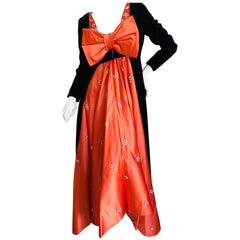 Cardinali Orange Silk Crystal Trim Babydoll Gown with Matching Black Velvet Coat
