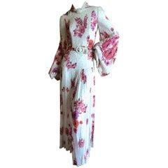 Cardinali Elegant Ivory Floral Silk Belted Poet Sleeve Evening Dress