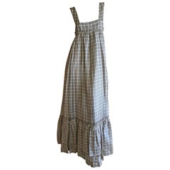 Cardinali Plaid Peasant Prairie Dress with Ruffle Hem, Fall 1972