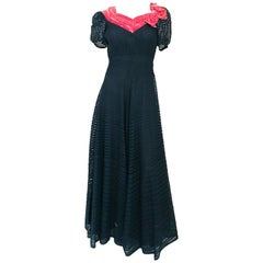 1930s Black/Coral Ribbon Silk and Velvet Dress