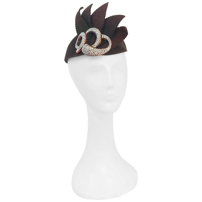 1930s Brown Wool Felt Cocktail Hat with Rhinestone Embellishment