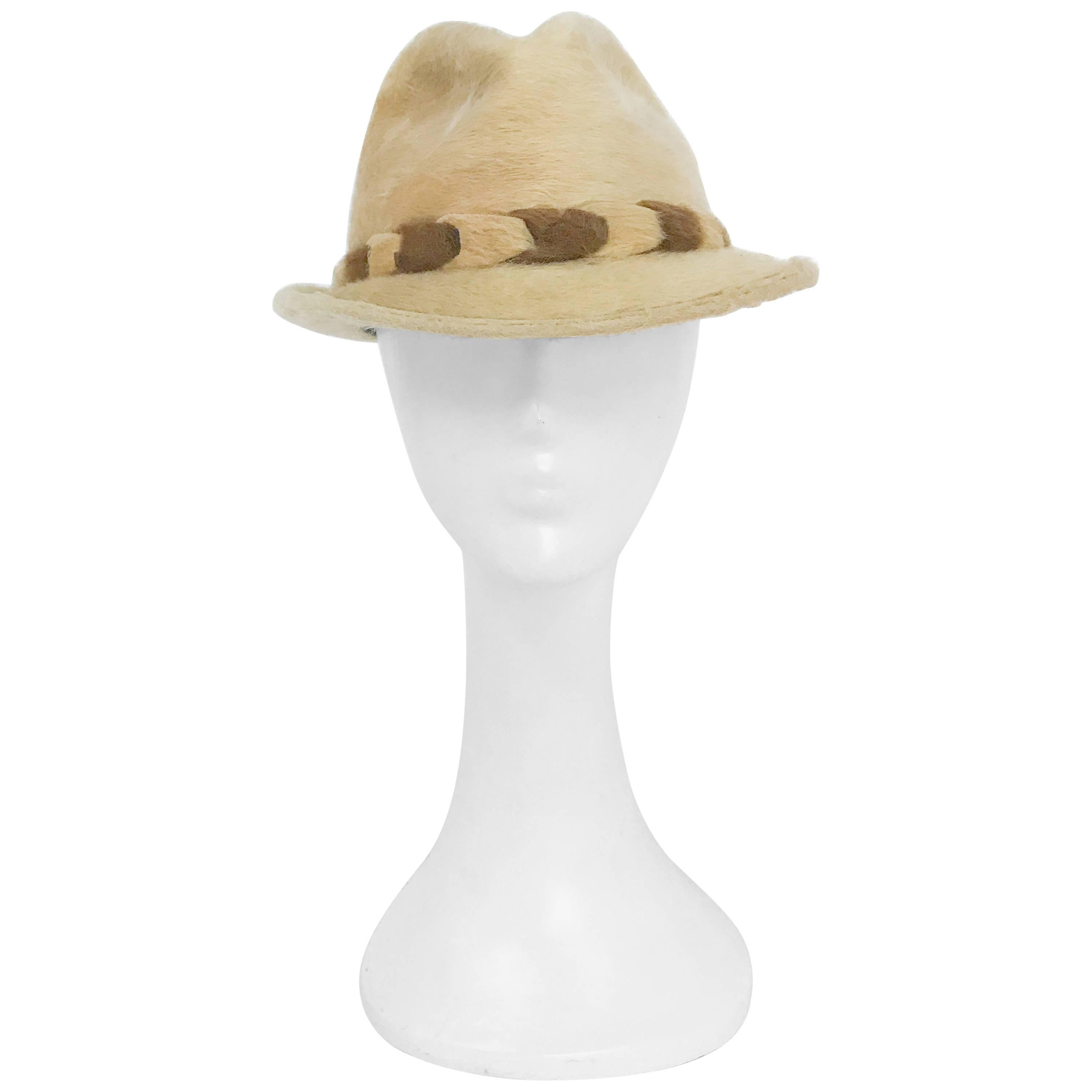 1960s Tan Beaver Felt hat with Two-Tone Band