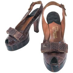 1947 Alligator Brown Sling Back Heels