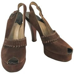 1947 Brown Suede and Leather Sling Back Heels