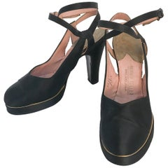 1940s Black and Gold Satin Strap Heels