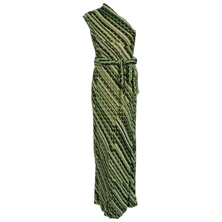 1970's Pauline Trigere Metallic Green Stripe Silk One-Shoulder Bias Cut Gown
