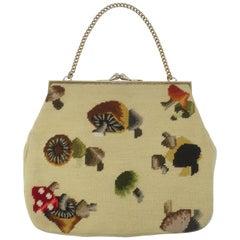 Large C.1960 Needlepoint Handbag With Mushroom Motif