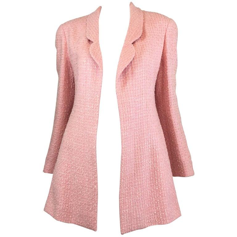 Chanel Pink Vintage Open Long Jacket For Sale