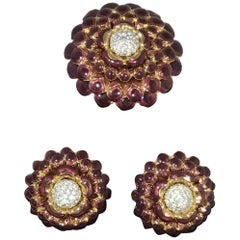 Judith Leiber Enamel Flower Brooch and Clip On Earring Set