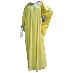1970s Saks Fifth Avenue Lemon Yellow Poly Knit Caftan Lounge Gown