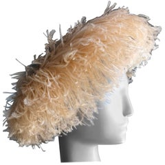 1950s Lora Peach Curled Ostrich Feather Cocktail Hat