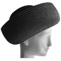 Maison Mendessolle Black Straw Hepburn Style Hat, 1960s