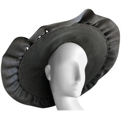Irina Roublon Large Dramatic Black Straw Hat With Ruffled Straw Brim, 1940s
