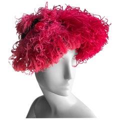 John-Frederics Custom Tilt Hat in Fuchsia Silk Satin and Curled Feathers, 1940s