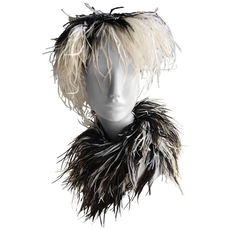 William J. Black And White Ostrich Feather Saucer Style Hat With Boa, 1950s