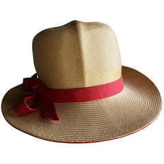 1970s Adolfo Two-Tone Natural And Red Straw Safari-Style Fedora W/ Creased Crown