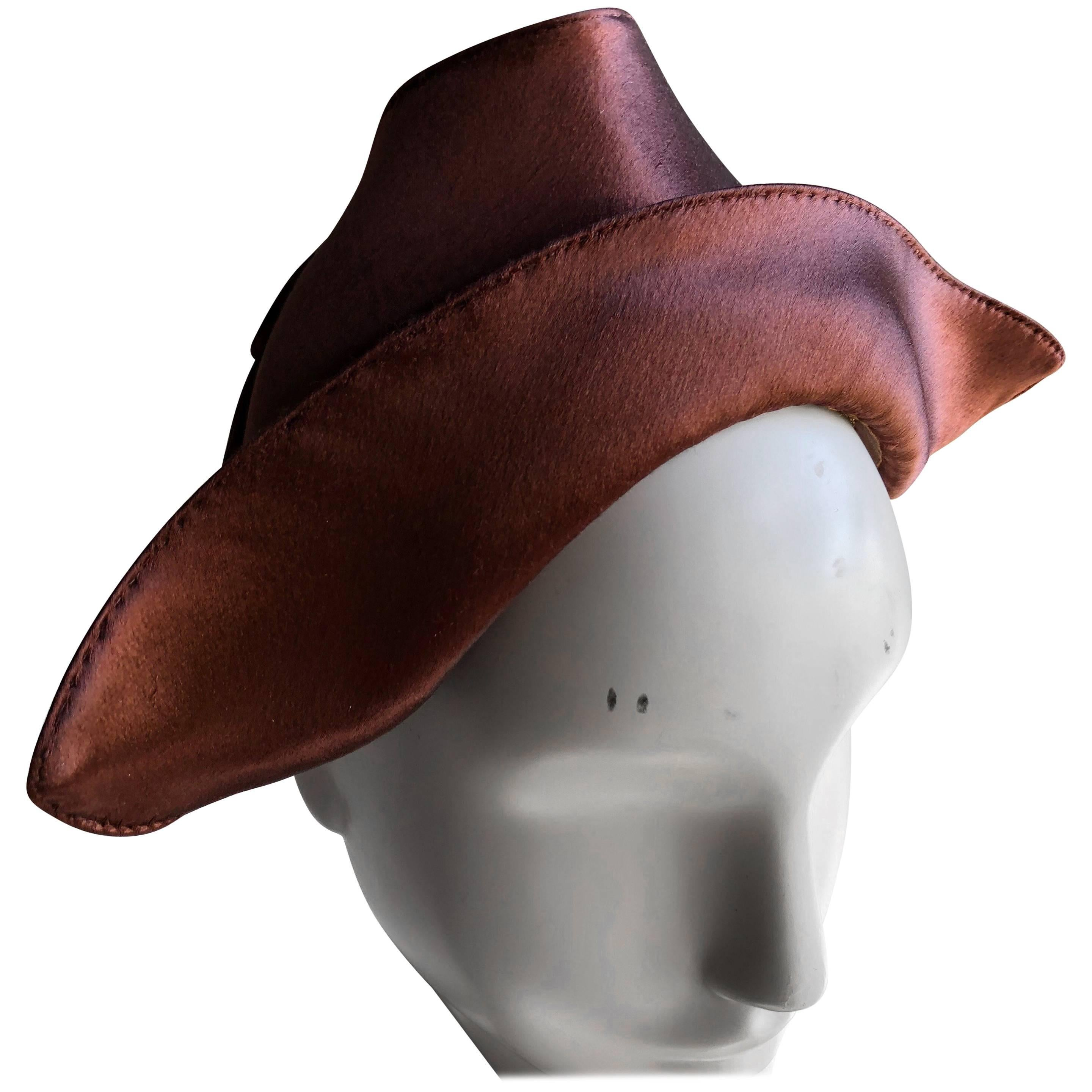 1940s Coret Chocolate Brown Silk Satin Dutch-Style Cocktail Hat