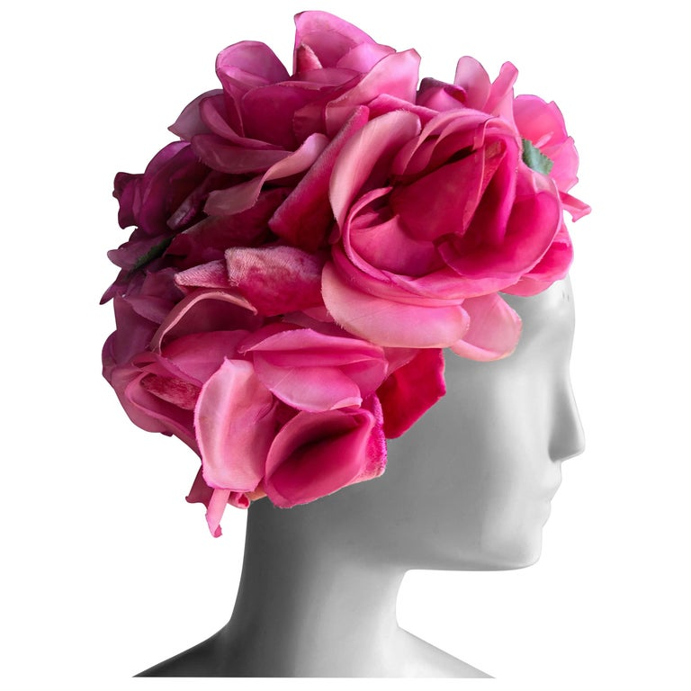 1960s Saks Fifth Avenue Vibrant Pink Silk Roses and Floral Hat