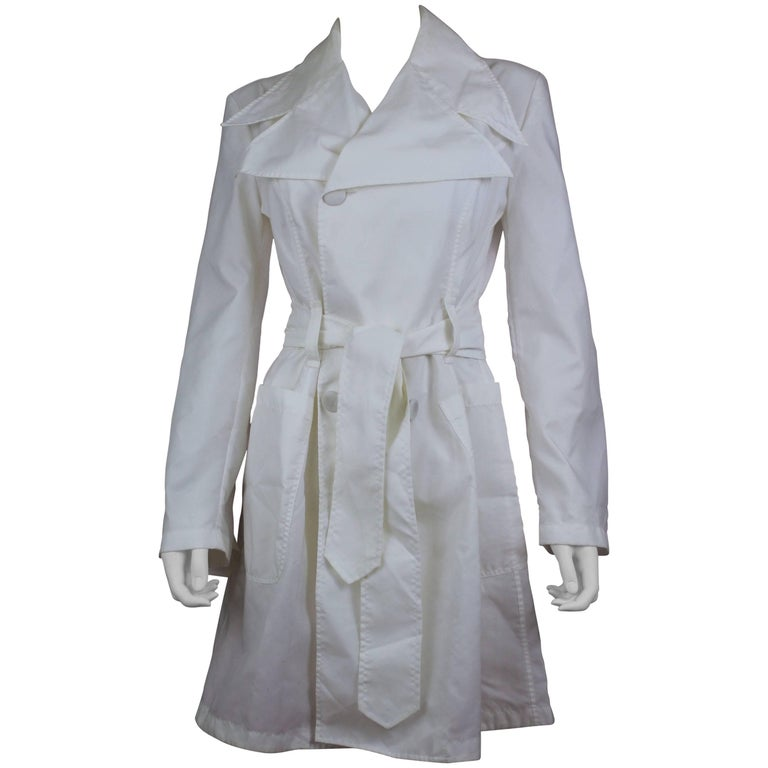Dolce & Gabbana Optical White Belted Trench Coat Size US 6