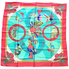 Vintage HERMES Carre large silk scarf with red and blue tone print of Circus.