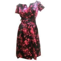 Christian Dior Couture Satin Floral Print Dress circa 1960