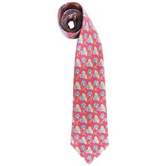HERMES Tie in Red Twill Silk with Floral Printed