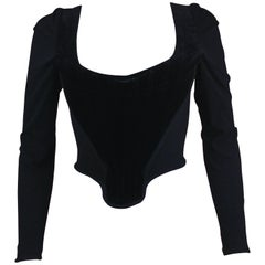 Vivienne Westwood Black Velvet Corset with Long Sleeves, C. late 90's, Size US 4