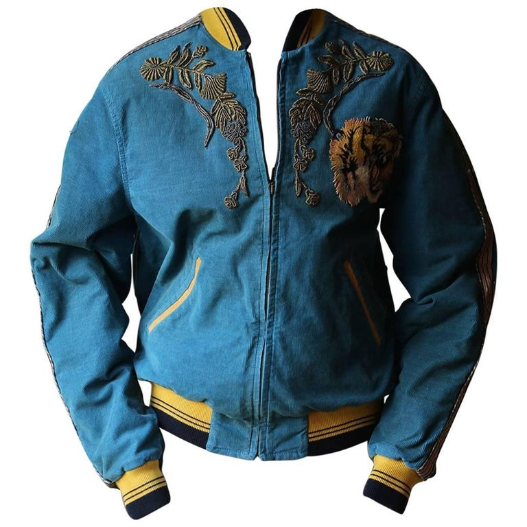 5f155432 Gucci Dragon-Embroidered Corduroy Bomber Jacket at 1stdibs
