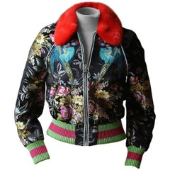 Gucci Mink Fur Trimmed Romantic Bouquet Silk Jacquard Bomber Jacket