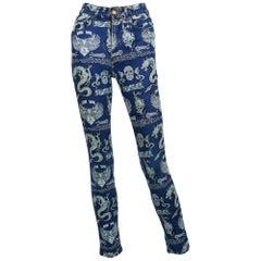 Jean Paul Gaultier Vintage Tattoo Denim Skinny Pants Trousers