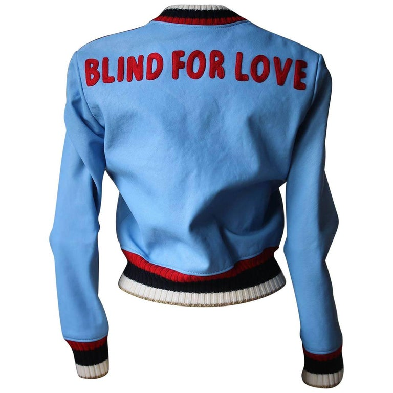 98cf4e145 Gucci Blind For Love Leather Bomber Jacket For Sale at 1stdibs