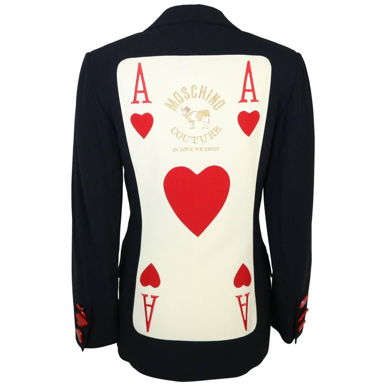 """Moschino Couture """"Aces of Hearts"""" Black Blazer"""