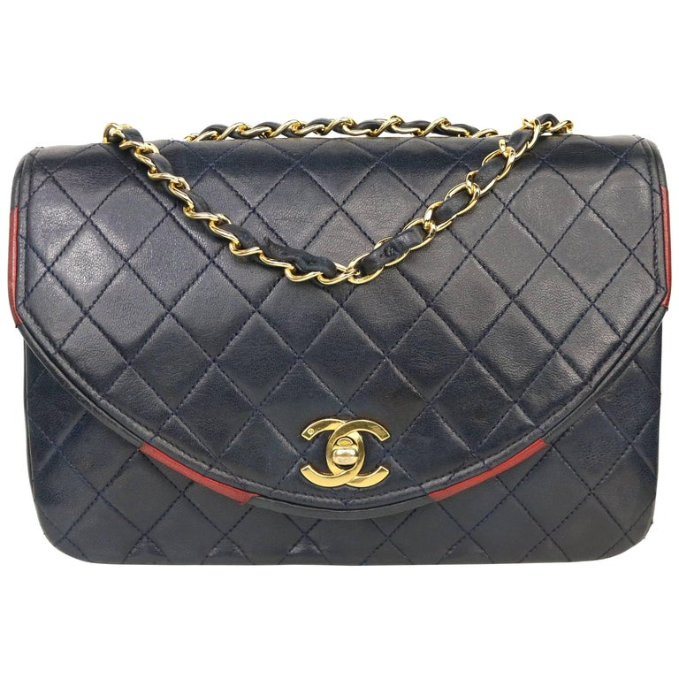 Chanel Classic Navy Quilted Lambskin Leather Red / Navy Trim Flap Shoulder Bag