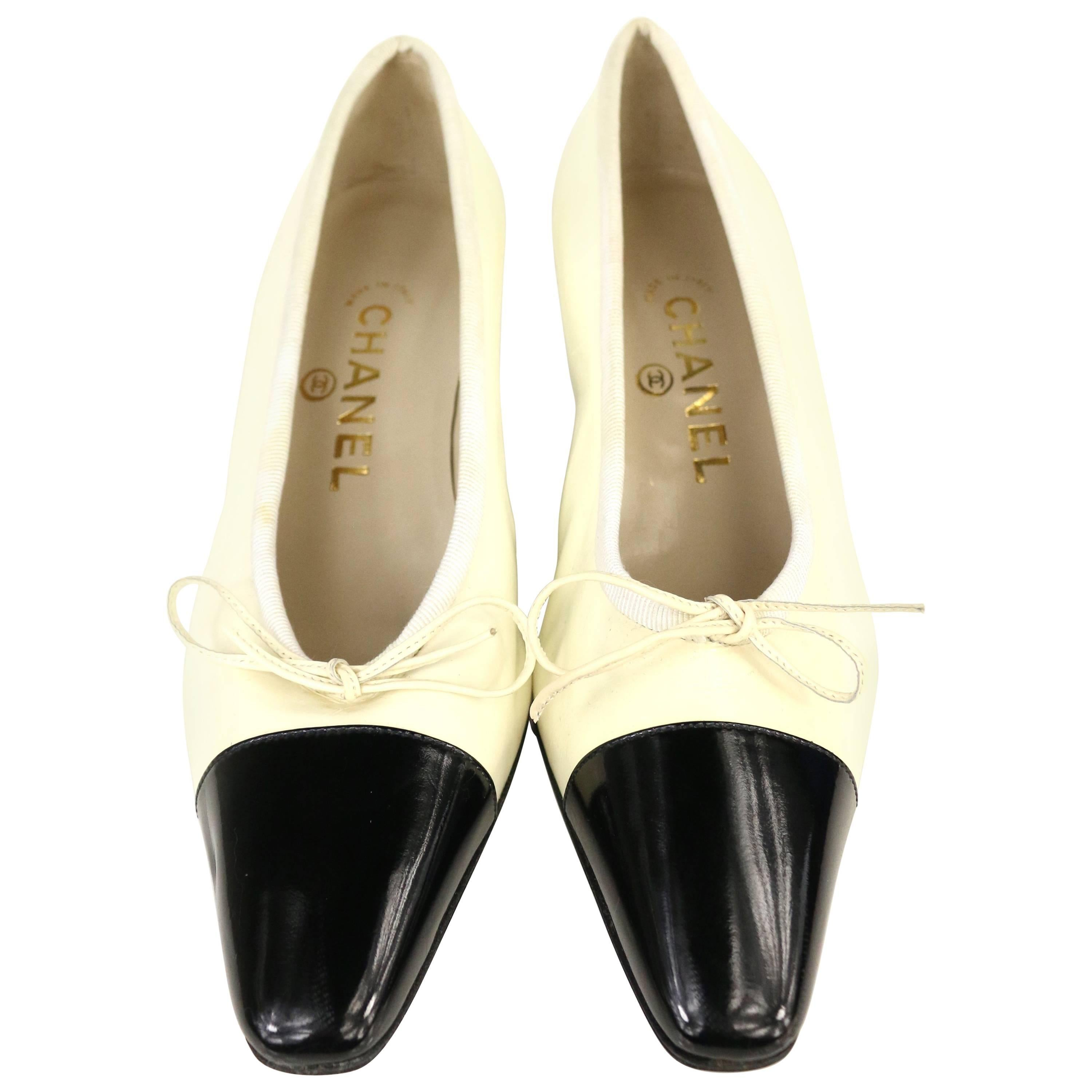 Chanel Black and White Patent Leather with Tied Ribbon Shoes