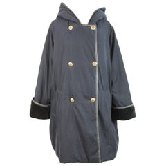 Max Mara Poncho Double Breasted Quilted Blue Italian Coat, 1990s