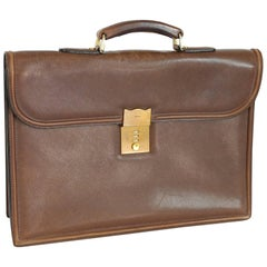 Gucci Briefcase Leather Brown Italian Bag, 1980s