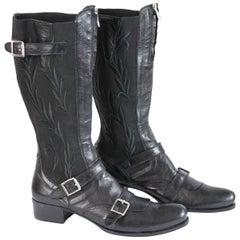 Gianni Barbato Boots Leather Black Italian Shoes, 1990s