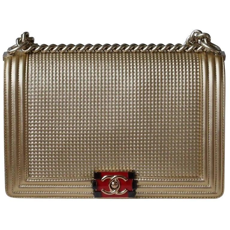 Chanel Boy Medium Embossed Gold Metallic Lambskin Flap Bag