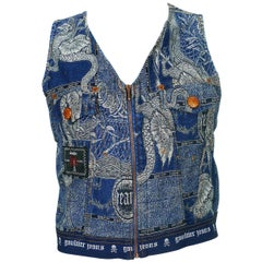 Jean Paul Gaultier Vintage Dragons Jacquard Denim Vest