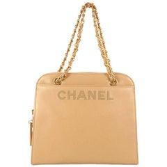 Chanel Vintage Logo Chain Caviar Medium Tote