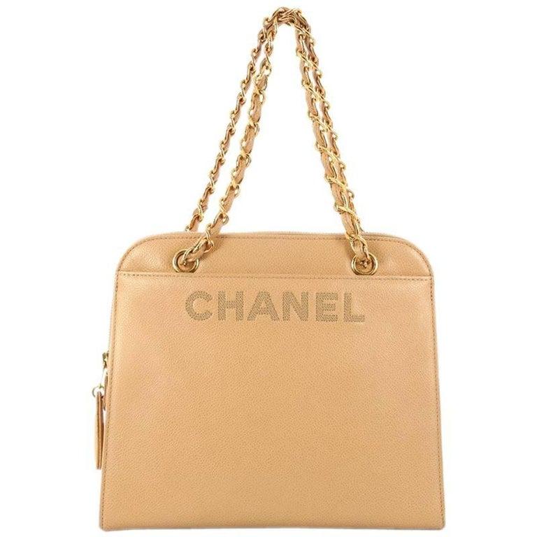 Chanel Vintage Logo Chain Tote Caviar Medium