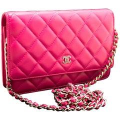 CHANEL Wallet On Chain WOC Hot Pink Shoulder Bag Crossbody Clutch