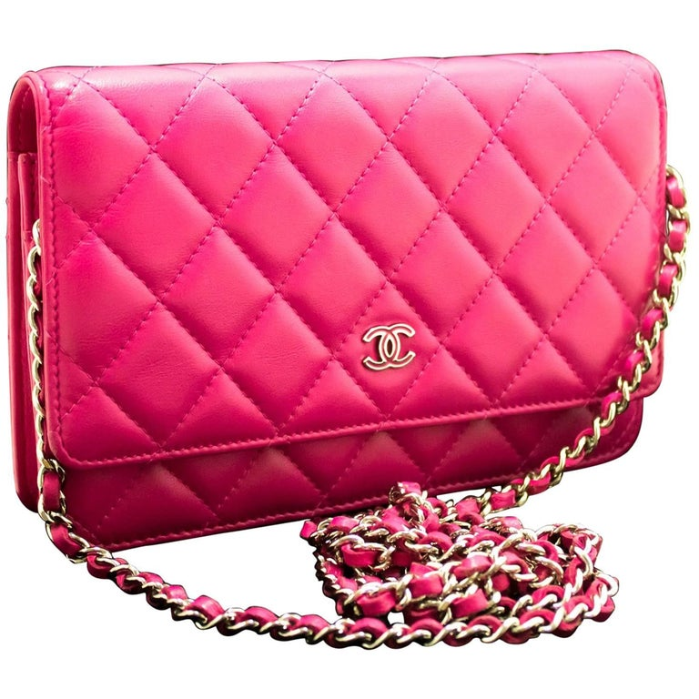 75625f7d8f1b5c CHANEL Wallet On Chain WOC Hot Pink Shoulder Bag Crossbody Clutch For Sale