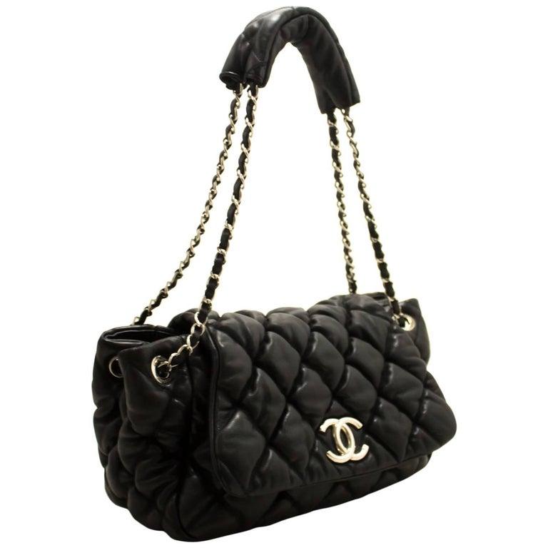 CHANEL Bubble Quilt Chain Shoulder Bag Black Lambskin Leather SV For Sale ae156e8e0dfad