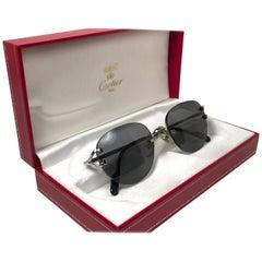 Cartier Salisbury Rimless Platine 51mm Brown Gradient Lens France Sunglasses