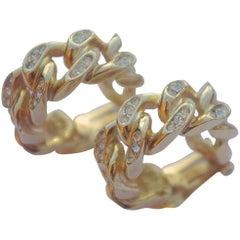 Christian Dior Gold-Plated and Rhinestone Hoop Earrings, circa 1980s