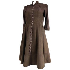 Carven Haute Couture Coat Dress, Circa 1944 / 1947